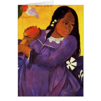 Mujer de Gauguin con una tarjeta de nota del mango