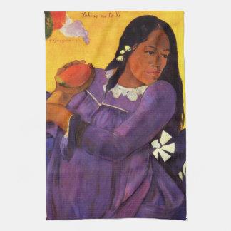 Mujer de Gauguin con una toalla de cocina del mang