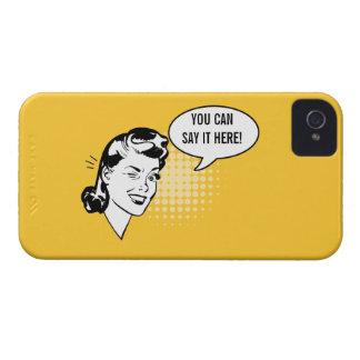 Mujer de guiño retra amarilla y blanca caso carcasa para iPhone 4 de Case-Mate