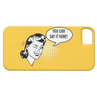 Mujer de guiño retra amarilla y blanca caso funda para iPhone SE/5/5s