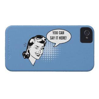 Mujer de guiño retra azul y blanca caso chistoso carcasa para iPhone 4 de Case-Mate