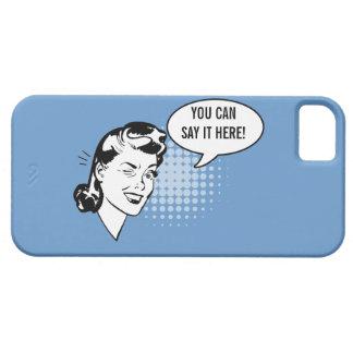 Mujer de guiño retra azul y blanca caso chistoso funda para iPhone SE/5/5s