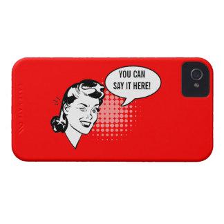 Mujer de guiño retra roja y blanca caso chistoso funda para iPhone 4