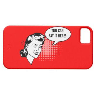 Mujer de guiño retra roja y blanca caso chistoso funda para iPhone SE/5/5s
