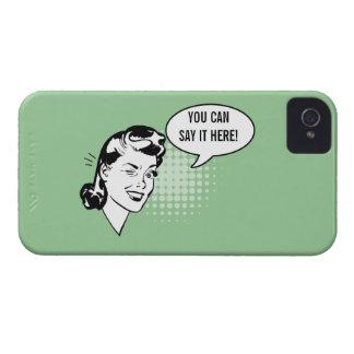 Mujer de guiño retra verde y blanca caso chistoso carcasa para iPhone 4