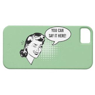 Mujer de guiño retra verde y blanca caso chistoso funda para iPhone SE/5/5s