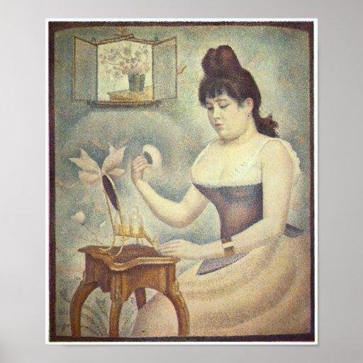 Mujer de Jorte Seurat-The con el soplo de polvo Posters