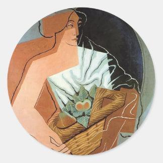 Mujer de Juan Gris- con la cesta Etiquetas Redondas