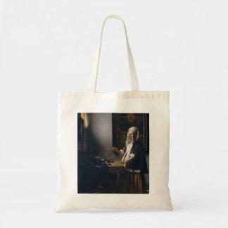 Mujer de Juan Vermeer- que lleva a cabo un equilib Bolsa Tela Barata