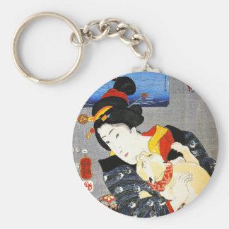 Mujer de Kuniyoshi con un llavero del gato