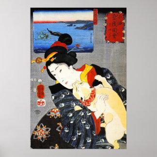 Mujer de Kuniyoshi con un poster del gato