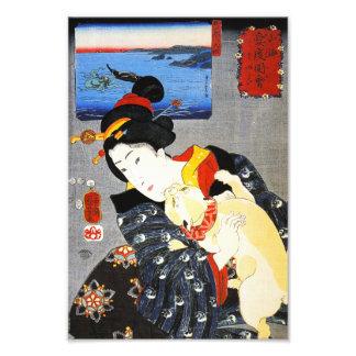Mujer de Kuniyoshi con una impresión del gato Fotografías