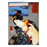 Mujer de Kuniyoshi con una tarjeta de nota del gat