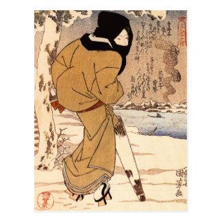 Mujer de Kuniyoshi que camina en la postal de la n