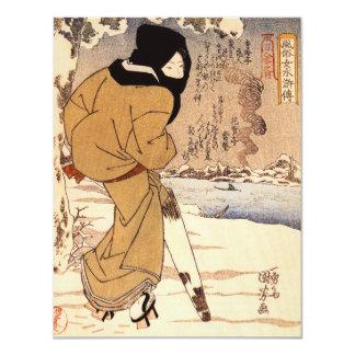 Mujer de Kuniyoshi que camina en las invitaciones Invitación 10,8 X 13,9 Cm