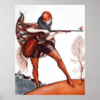 Mujer de la aleta en la caza del pájaro del gorra  póster