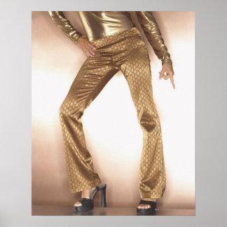 Mujer de la cadera en el baile del disco del oro poster