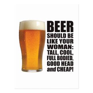 Mujer de la cerveza postal