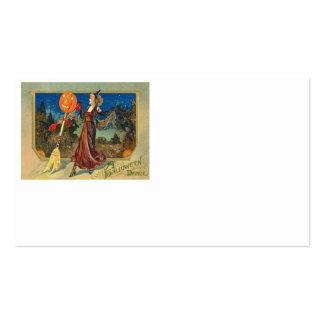 Mujer de la danza de la escoba de la calabaza de l tarjetas de visita