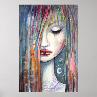 Mujer de la fantasía del arte pop dormida póster