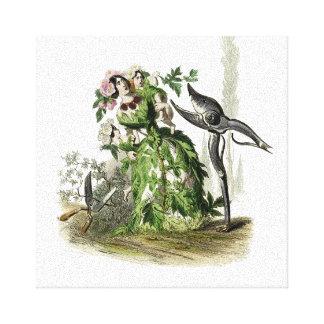 Mujer de la flor atacada por los cortadores del impresiones en lona