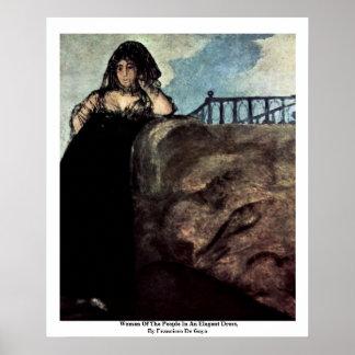 Mujer de la gente en un vestido elegante póster