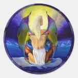 Mujer de la hada de la fantasía pegatinas redondas