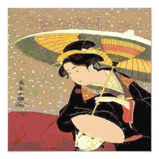 """Mujer de la impresión del japonés invitación 5.25"""" x 5.25"""""""