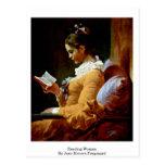 Mujer de la lectura de Jean-Honore Fragonard Postal