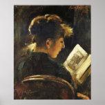 Mujer de la lectura - poster del arte de la reprod