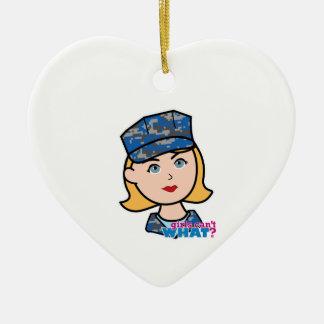 Mujer de la marina de guerra adorno navideño de cerámica en forma de corazón