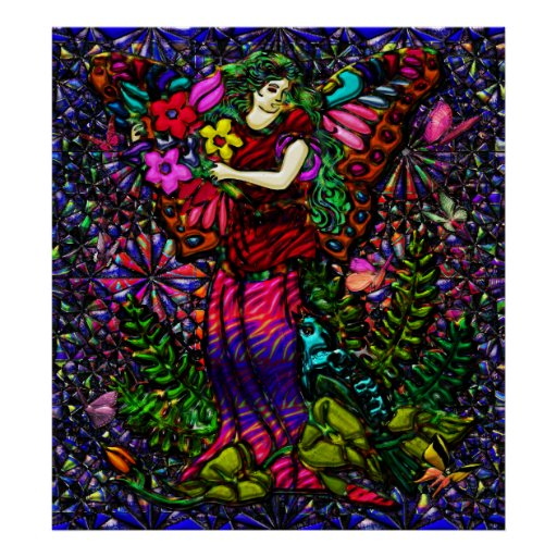 Mujer de la mariposa con las flores y las mariposa póster
