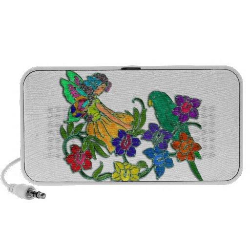 Mujer de la mariposa floral y pájaro notebook altavoces