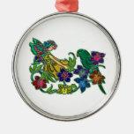 Mujer de la mariposa floral y pájaro ornamentos de navidad