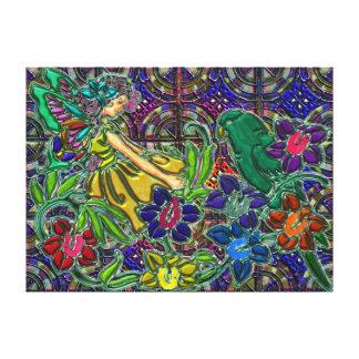 Mujer de la mariposa floral y pájaro lona estirada galerías