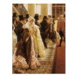Mujer de la moda por Tissot, arte del Victorian Tarjeta Postal