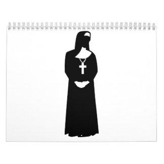 Mujer de la monja calendario