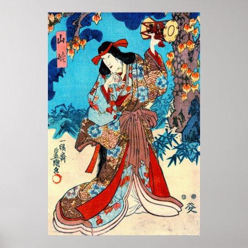 Mujer de la montaña que teclea 1848 posters