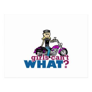 Mujer de la motocicleta postales