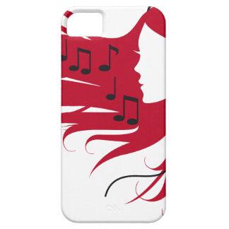 Mujer de la música con los auriculares y el pelo r iPhone 5 cárcasas
