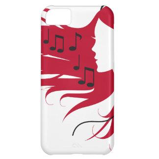 Mujer de la música con los auriculares y el pelo r