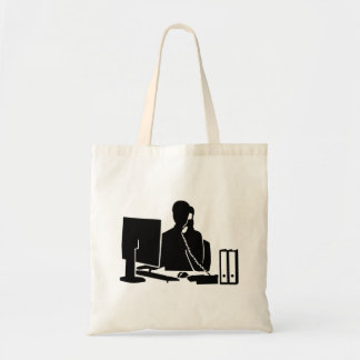 Mujer de la oficina de la secretaria bolsa tela barata