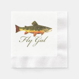 Mujer de la pesca con mosca servilleta desechable