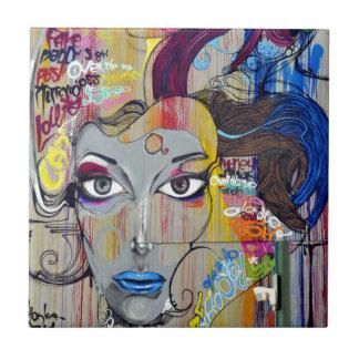Mujer de la pintada azulejo cuadrado pequeño