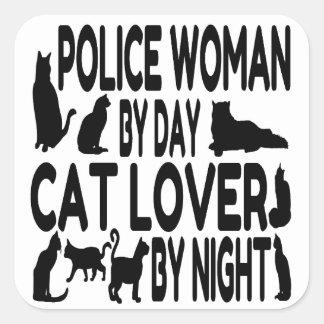 Mujer de la policía del amante del gato pegatina cuadrada