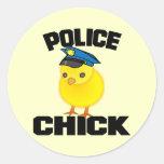 Mujer de la policía etiqueta redonda