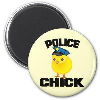 Mujer de la policía imán redondo 5 cm