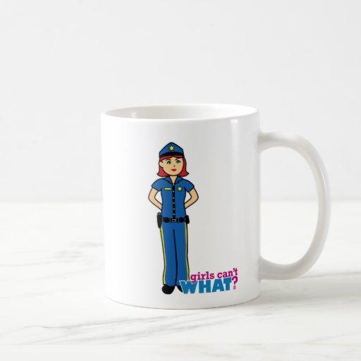 Mujer de la policía - luz/rojo taza de café