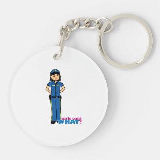 Mujer de la policía - medio llaveros