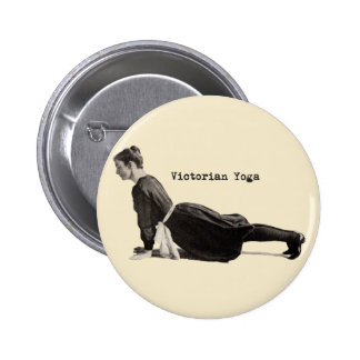 Mujer de la yoga del vintage que hace actitud asce pin redondo 5 cm
